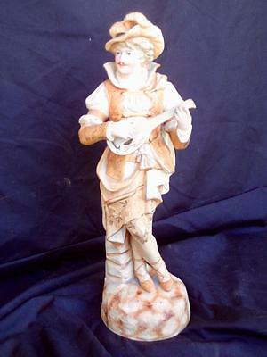 c.1950's Hand Painted Man Elegant Bisque Large 40cm Ceramic Statue 1700 Period