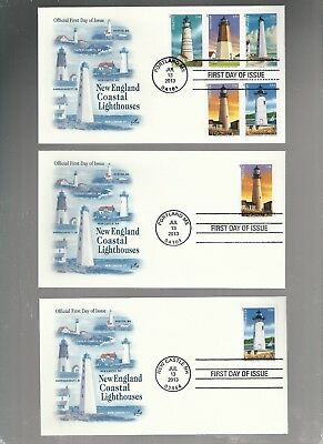 Us Fdc First Day Covers Lighthouses New England  2013  Lot Set Of 6  Artcraft