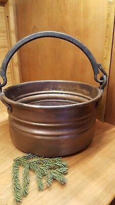Antique Vintage Copper Hanging Kettle Pail Cauldron Pot  Iron Handle