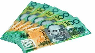 1/6 Scale Miniature Play Money Australian Banknotes $100 (8 sheets)