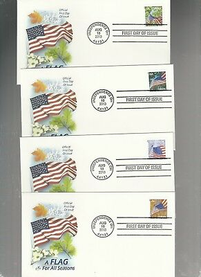Us Fdc First Day Covers Flag For All Seasons   2013  Lot Set Of 4  Artcraft