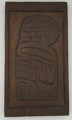 Signed Pacific Northwest wood panel relief carving bird totem 8x14