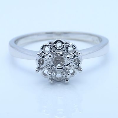 Fine Jewellery Solitaire Semi Mount Setting 4mm Round Silver Simple Style Ring