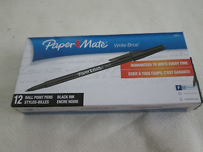 Lot (3 boxes #33311) Ball point Pens, Paper Mate Write Bros. Black Ink Capped