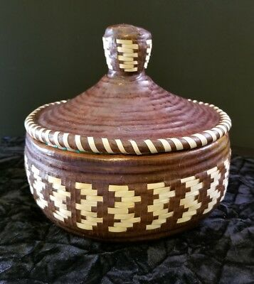 African Leather Basket with Lid Hand Woven Fair Trade