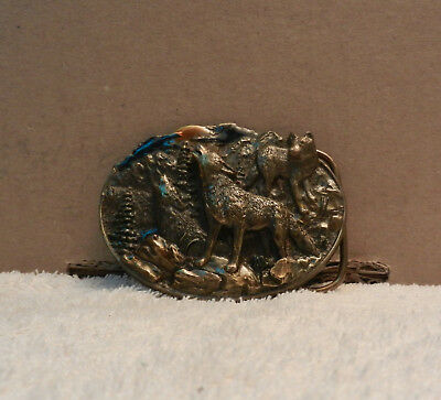Belt Buckle Howling Wolf Vintage Collector USA 1981 History