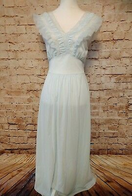 Vintage Blue Floor Length Nightgown Luxite by Kayser 100% Nylon Lace Size 34