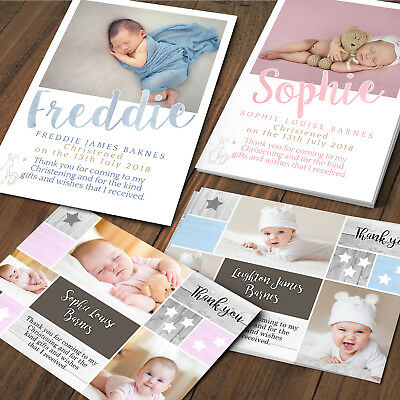 Christening Thank You Cards, Baby, birthday Personalised Christening Photo cards