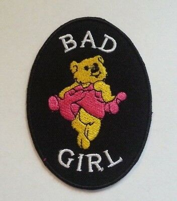 """Bad Girl Dancing Bear Patch~Embroidered~Iron Sew-on~3 1/2"""" x 2 1/2""""~Lady Biker~"""