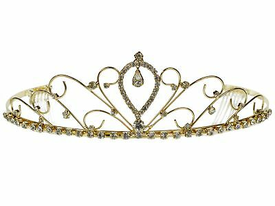 759e8ded45c94c SC Bridal Wedding Crown Veil Pageant Homecoming Prom Crystal Gold Tiara  4059G