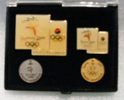 Olympic Pins Korean  Olympic Deligation  4  Pins Box