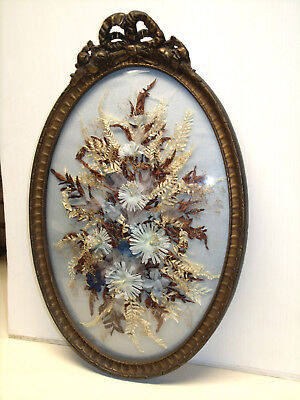 Antique Gilt Wood Oval Convex Glass Picture Frame With Silk Floral Display