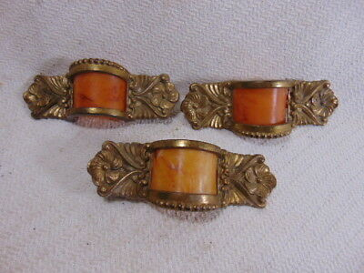 Vintage Antique Art Deco Drawer Pulls W/ Bakelite Inserts