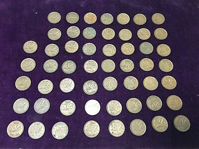 Mixed Lot Canadian One Small Cent Penny Lot Canada 54 Coins