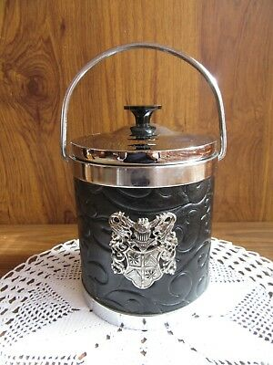 Vintage Black And Silver Ice Bucket With Heraldic Crest Detail – Retro Kitsch