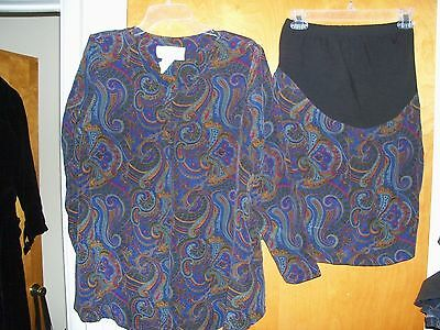Ladies Women's Motherhood Maternity Blouse And Skirt Set Size S Small