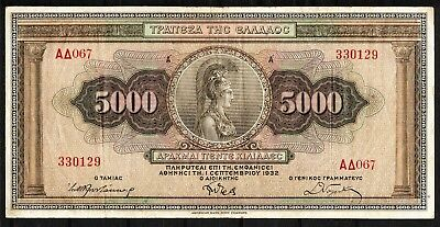 Greece, 5000 Drachmai 1932 (XF) #476