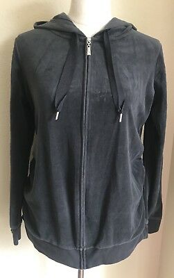 MOTHERHOOD MATERNITY Velour Hoodie Hooded Jacket Dark Gray Rauched M Medium EUC