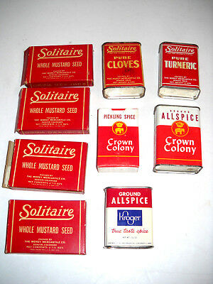Lot of 9 VINTAGE SOLITAIRE, KROGER CROWN COLONY SPICE TINS and Cardboard cans