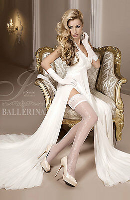 BALLERINA Luxury Fine Sheer Lace Top Patterned Hold Ups Ivory Bridal S M L XL