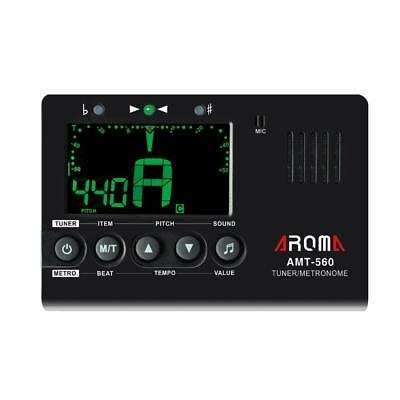 Aroma AMT-560 Electric Guitar Tuner & Metronome Built-in Mic with Pickup Cabl...