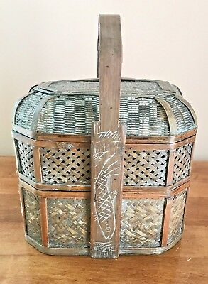 Antique Chinese Woven Bamboo Stacking  Wedding Basket Carved Lacquered 2 Tier