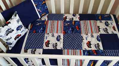 """New Little boy's """"Ford truck & Mustang"""" Patchwork design Cot/Toddler bed set"""
