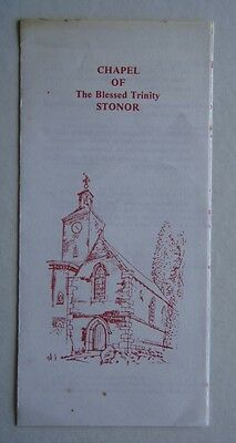 Chapel Of The Blessed Trinity Stonor Advert Leaflet