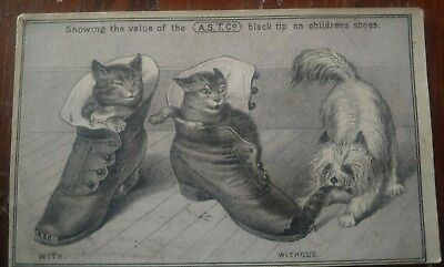 1870s Victorian Trade Card A.S.T. Shoe Tips W.P. Goss Portland, Maine Cats & Dog