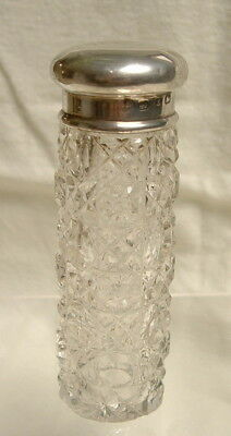 Antique Victorian Hobnail Cut Glass & Silver Scent Salts Bottle Bham 1899