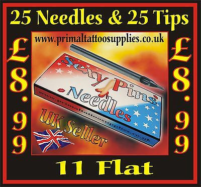 25 Tattoo Needles 11 Flat + 25 Disposable Long Tips 11 Flat - (Tattoo Supplies -