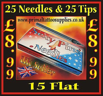 25 Tattoo Needles 15 Flat + 25 Disposable Long Tips 15 Flat - (Tattoo Supplies -