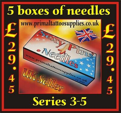 5 Boxes of Sexy Pins Tattoo Needles from series 3 & 5 (250 needles in total)