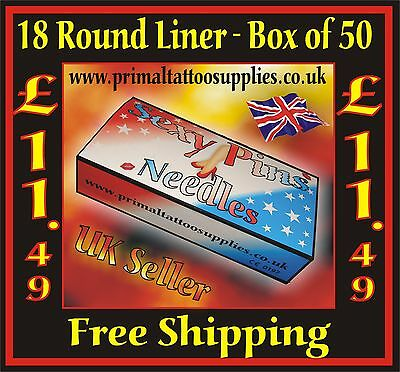Tattoo Needles 18 Round Liner box 50 -  (Tattoo Supplies - NO Disposable Tips)