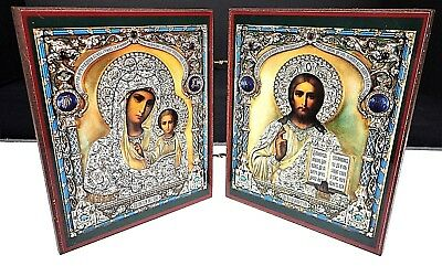 Russian Orthodox Icon Madonna Mary Child Jesus Bifold Virgin Kazan Christ