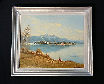 chiemsee. View on the fraueninsel. Original Oil Painting Willi Hallhuber