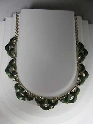 Vintage Thermoset Art Deco Style Green Necklace 16 1/2""