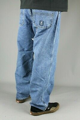 360Clothing Mens Kids 274 Loose Fit Crosshatch Denim Jeans Stonewash Skate Baggy
