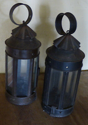Two Early Tin Hanging or Carrying Candle Lanterns