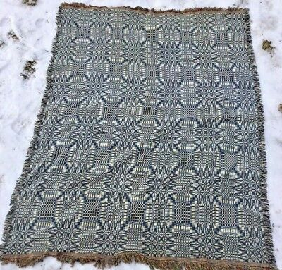 Unusual Antique Cotton Double Weave Coverlet Blue And White W Browns On Reverse
