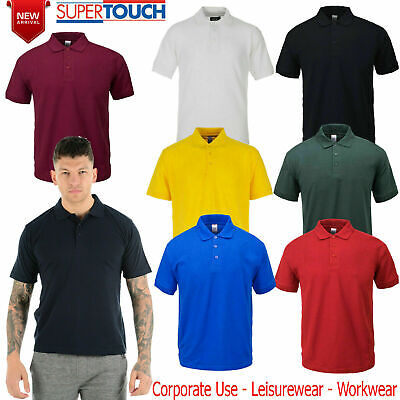 Mens Polo Shirt Casual Plain T-Shirts Active Sports Classic Collared Pique T Top