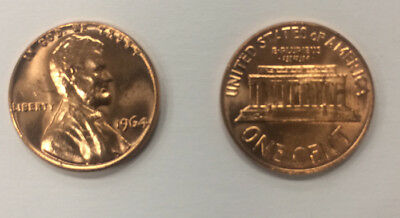 1964 P and D BU LINCOLN MEMORIAL CENT PENNY set - 2 coins