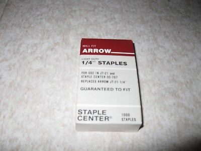 Arrow 1/4 Staples Light Duty 1000 Staples Jt-21 , Sc 707