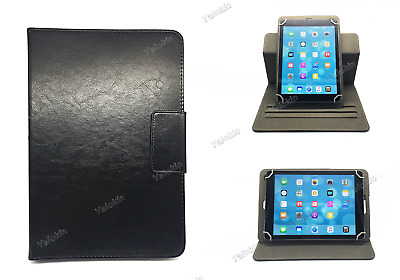 """Universal Folio Case Fits 9"""" to 10"""" Tablets - Rotating Black Leather Stand"""