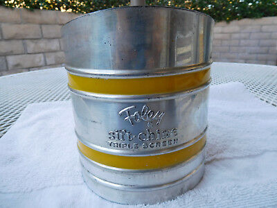 Vintage Foley Sift Chine Flour Sifter - Triple Screen - Yellow Bands