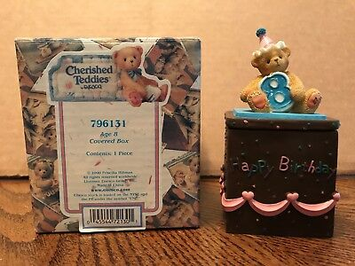 Enesco Cherished Teddies Birthday Age 8 Covered Box  796131