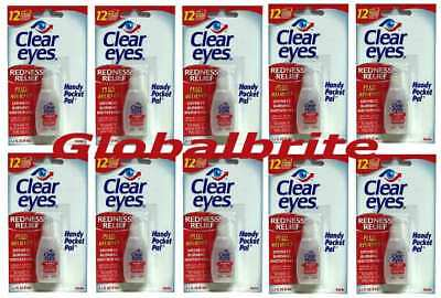 10 packs Clear Eyes Redness Relief Handy Pocket Pal, 0.2 oz, Exp: 09/2019