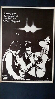 "THE HAGERS ""Thank You For Voting Us #1"" 1970 Original Promo Poster Ad"
