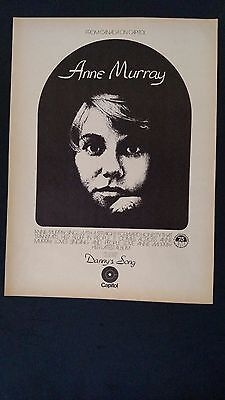 "ANNE MURRAY ""Danny's Song"" 1973 Original Promo Poster Ad"