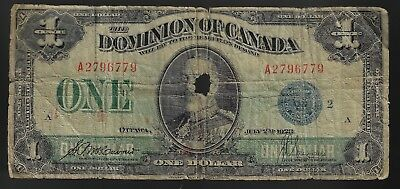 1923 DOMINION OF CANADA $1 ONE DOLLAR DC-25h BLUE SEAL MCCAVOUR SAUNDER